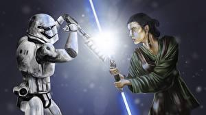 Фото Звездные войны Битва Клоны солдаты Световой меч 2 Меч Rey vs Stormtroop Фильмы Фэнтези