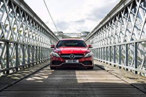 Обои Mercedes-Benz Красный Спереди 2015 AMG C 63 Estate UK-spec S205 Автомобили