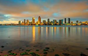 Фото США Здания Вечер Океан Сан-Диего Города