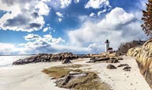 Обои США Побережье Камни Пейзаж Маяки Облака Пляж Annisquam Gloucester Massachusetts Природа фото