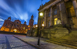 Фотография Великобритания Здания Ночь Уличные фонари Улице Leeds город