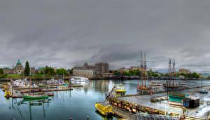 Фотографии Канада Дома Реки Пирсы Корабли Парусные Вечер Downtown Города