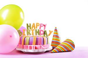 Обои Праздники День рождения Торты Воздушные шарики Белом фоне