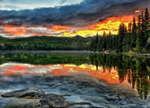 Фотография Канада Рассветы и закаты Парки Горы Озеро HDRI Деревья Джаспер парк Pyramid Lake Alberta