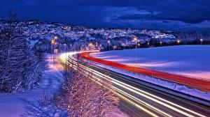 Фотографии Норвегия Дороги Зимние Движение Ночные Trondheim Города