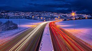 Фотография Норвегия Дороги Зима Движение Ночь Trondheim Города