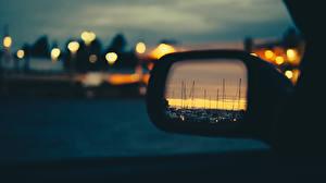 Обои Зеркало Ночь Отражение Автомобили фото