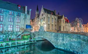 Картинки Мост Здания Бельгия Брюгге Ночь Города