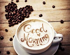 Обои Кофе Капучино Чашке Зерно Серце Продукты питания