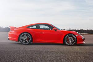 Картинка Porsche Сбоку Красный 2012 TechArt 911 Carrera S Автомобили