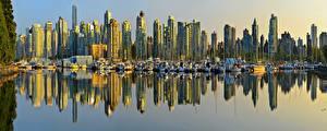 Обои Побережье Небоскребы Дома Катера Канада Ванкувер Города фото