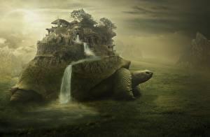 Картинки Фантастический мир Черепахи Водопады Фэнтези