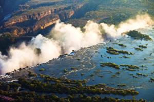 Фотография Тропики Водопады Речка Zimbabwe Victoria Falls