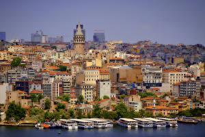Обои Турция Дома Причалы Корабли Стамбул Города фото