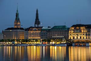 Обои Гамбург Германия Дома Реки Ночь Города