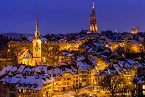 Фотография Швейцария Дома Зима Берн В ночи Уличные фонари город
