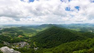 Фотография США Горы Леса Облака Lee Virginia Природа