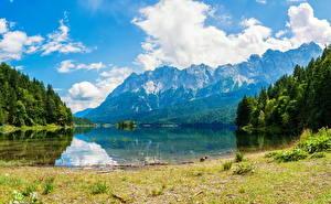 Фотография Пейзаж Озеро Горы Леса Облака Природа