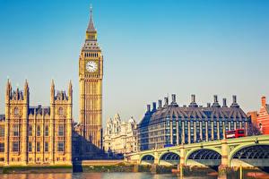Фото Англия Здания Мост Лондон Биг-Бен