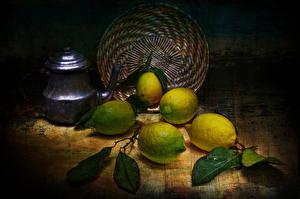 Обои Лимоны Чайник Натюрморт Еда фото