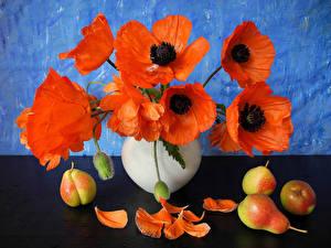 Обои Мак Груши Натюрморт цветок