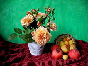 Картинки Розы Яблоки Натюрморт Гранат Цветы