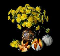 Обои Одуванчики Тыква Натюрморт Цветы Еда фото