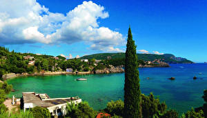 Обои Греция Пейзаж Побережье Море Облака Corfu Природа фото