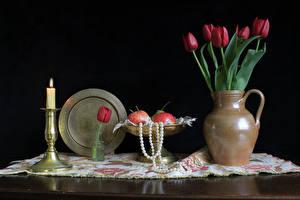 Картинка Тюльпаны Свечи Натюрморт Кувшины Стола Цветы