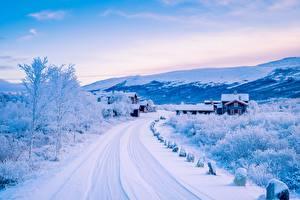Картинки Норвегия Зимние Дороги Здания Небо Снег Природа