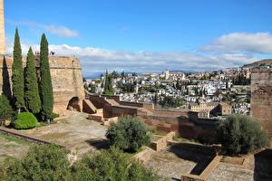 Обои Испания Здания Крепость Дерева Granada Andalusia Города