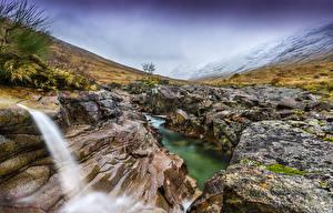 Обои Великобритания Пейзаж Горы Водопады Камни Yorkshire Природа