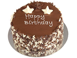 Картинка Сладости Торты Шоколад День рождения Белый фон