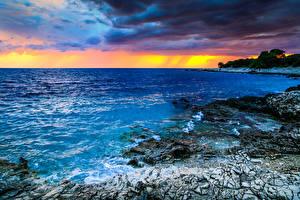 Обои Хорватия Рассветы и закаты Побережье Море Пейзаж Природа фото