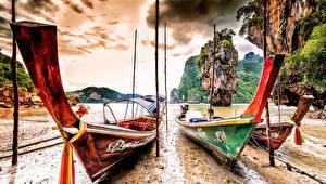 Обои Лодки Таиланд Побережье Скала Ko Tapu Phang Nga Province Природа фото