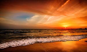 Обои Рассветы и закаты Море Горизонт Природа