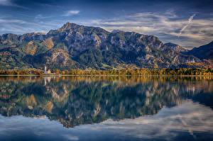 Фотографии Германия Горы Озеро Пейзаж Нойшванштайн Бавария Альпы Forggensee Природа