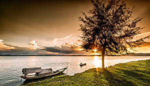Обои Рассветы и закаты Лодки Вьетнам Деревья Залив Vinh Природа фото