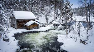Фотографии Речка Финляндия Дома Зима Снег Природа