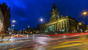 Фотография Великобритания Дома Улице Ночные Уличные фонари Leeds город