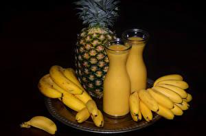 Фото Ананасы Бананы Молоко Сок Бутылка Еда