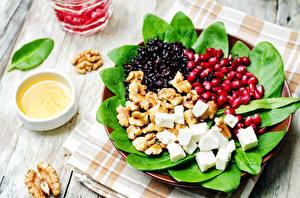 Фотографии Салаты Фрукты Сыры Орехи Зерна Продукты питания