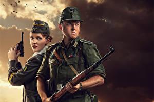 Картинки Солдаты Рисованные Винтовки Двое Армия Девушки