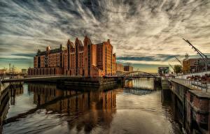 Фотографии Гамбург Германия Здания Реки Мосты