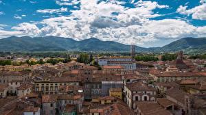 Обои Дома Италия Тоскана Облака Lucca