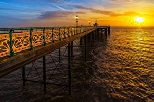 Фотография Причалы Море Рассветы и закаты Великобритания Солнце Penarth Pier Vale of Glamorgan Природа