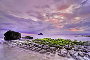 Обои Побережье Камни Море Природа фото