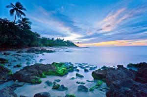 Обои Море Побережье Небо Вечер Aguadilla, Puerto Rico Природа фото