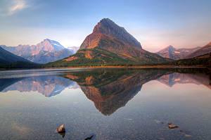 Обои Озеро Горы США Парк Утес Glacier Природа