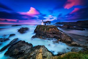 Обои Море Побережье Вечер Скала chapel Природа фото